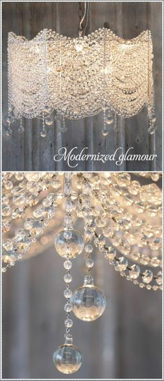 The new look of crystal chandeliers - Modernized glamour ~ Could be a great DIY project! Crystals draped on the wire frame of a modern lampshade. Modern Chandelier, Chandelier Lighting, Crystal Chandeliers, Chandelier Centerpiece, Beaded Chandelier, Chandelier Tattoo, Lampshade Chandelier, Diy Lampshade, Bathroom Chandelier