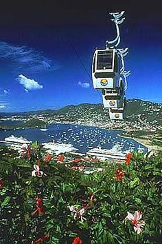 Charlotte Amalie, St. Thomas. Fly high on the St. Thomas Skyride to Paradise Point, 700 feet above sea level to spectacular views of the harbor, cruise ships, and downtown Charlotte Amalie.