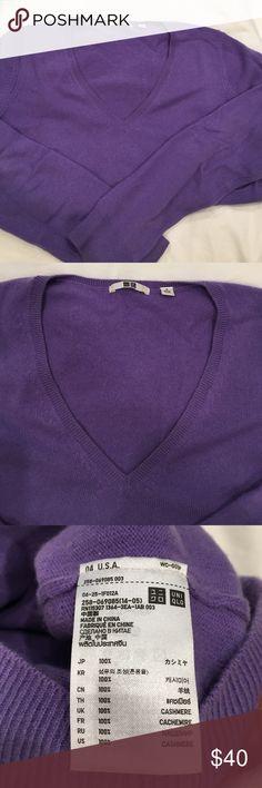 Uniqlo purple 100% cashmere V-neck sweater Uniqlo purple 100% cashmere V-neck sweater Uniqlo Sweaters V-Necks