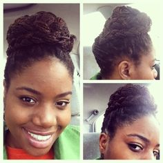 Box braid updo style. Natural hair protective style. Transitioning natural hair