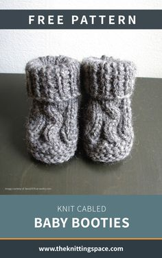 Knit Cabled Baby Booties [Free Knitting Pattern] - Create this lovely pair of knitted cable baby booties in time for the autumn and winter seasons. This pattern includes a free tutorial on Making Knitted Cables. Baby Boy Knitting Patterns Free, Baby Cardigan Knitting Pattern Free, Baby Clothes Patterns, Free Knitting, Knitting Needles, Knit Baby Shoes, Crochet Baby Booties, Knitted Booties, Knitted Baby Clothes