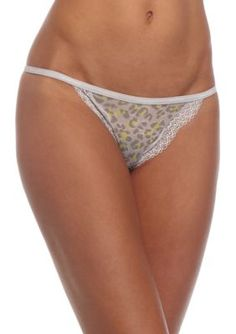 Calvin Klein Women's Sheer Marquisette Lace String Thong - Qf1689 - Dynamical Leopard - Xl