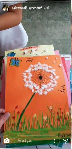 Make this with cut ofd q tips for pictures of levi blowing dandelion puff! Projects For Kids, Diy For Kids, Crafts For Kids, Arts And Crafts, Paper Crafts, Fun Crafts, Kindergarten Art Projects, Spring Art, Art Classroom