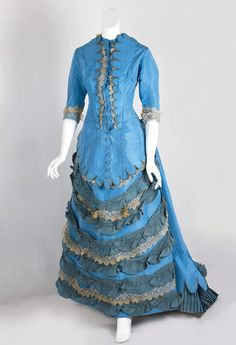 1870s bustle gown in robin's egg blue silk taffeta