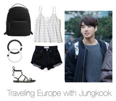 """""""Traveling Europe with Jungkook"""" by bts-outfit-imagines ❤ liked on Polyvore featuring Hollister Co., Levi's, Temperley London, Lokai and MANGO"""