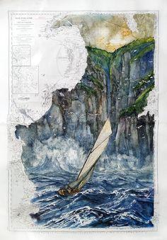 irish coast- yacht- sailing -ireland - sea Ligne Claire, Les Oeuvres, Sailing, Ireland, Irish, Coast, Outdoor, Nautical Chart, Watercolor And Ink