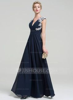 [US$ 117.49] A-Line/Princess V-neck Floor-Length Chiffon Evening Dress With Appliques Lace