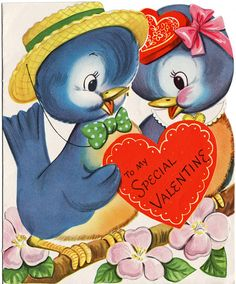 Large Vintage Valentine  Bluebirds  Extra Sweet by thecedarchest, $8.00