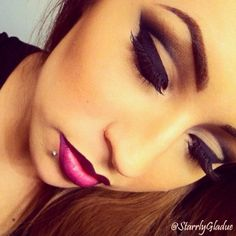 Cut crease, lip liner, makeup, lip piercing