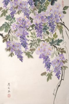 "Challenge yourself with a different style of painting in our NEW class, Chinese Brush Painting! ""Wisteria"" by instructor Li-Wen Quach."