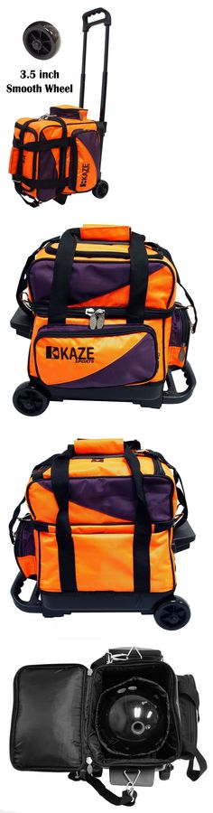 e96edeee6c 1 Ball 71094  Kaze Sports 1 One Single Ball Bowling Roller Tote Bag Smooth  Wheel Orange-Purple BUY IT NOW ONLY   59.99