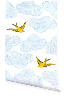 Hygge & West | Daydream (Almost White/Sunshine) wallpaper #birds #wallpaper