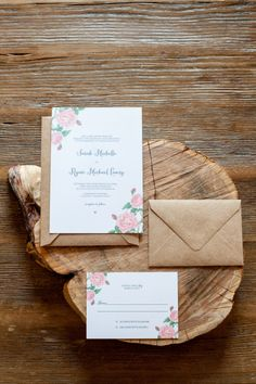 Pink floral wedding invitation // photo by http://mikkelpaige.com, planned & designed by http://roeymizrahi.com, invite by Crafty Pie Press