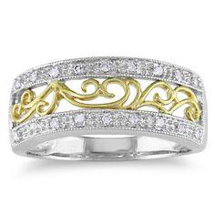 Miadora 10k Two-tone Gold 1/10ct TDW Diamond Ring | Overstock.com