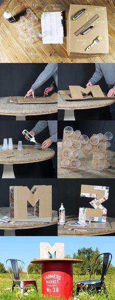 Tuto facile pour faire des lettres en 3D #DIY #lettre #facile #3D                                                                                                                                                                                 Plus