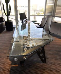 Aviation Furniture - Pretty cool office desk [ Barndoorhardware.com ] #office #hardware #slidingdoor