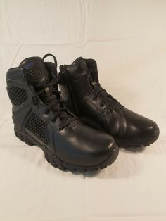 NEW TACTICAL MILITARY BLACK LEATHER COMBAT ZIP WALKING BOOTS UK SIZE 8.5 RRP £40