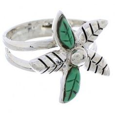 Silver Southwest Turquoise Flower Ring Size 5-3/4 FX22256