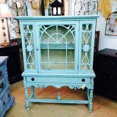Light Blue Distressed Painted Hutch