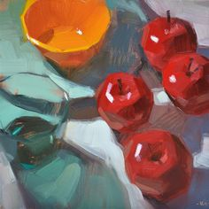 "Daily Paintworks - ""The Golden Bowl"" - Original Fine Art for Sale - © Carol Marine Apple Painting, Fruit Painting, Painting Still Life, Still Life Art, Acrylic Painting Inspiration, Apple Art, Fine Art Auctions, Sketch Painting, Fruit Art"