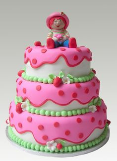 if i had a baby girl. Bolo Fack, Strawberry Shortcake Party, Barbie Cake, Just Cakes, Girl Cakes, Themed Cakes, No Bake Cake, Amazing Cakes, Cookie Decorating