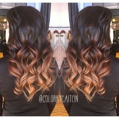 Mocha-caramel ombre  #colorist #colormelt #ombre #sombre #balayage #hairpainting #longhair #mermaidhair #evohair #redken #sheboygan #wisconsin #wisconsinhair by colorbycaitlin