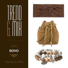 Inspiração de mix Boho! #boho #bohochic #bohostyle #bucketbag #amomuitoacessorios #bijoux #headband