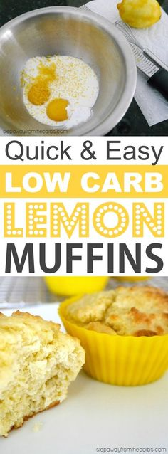 Low Carb Lemon Muffins Made With Almond Flour | These quick and easy low carb keto muffins are perfect for breakfast, snacks and on the go! They're all high in protein, and most of them are made with almond flour or coconut flour-- healthy, sugar free, gluten free and delicious! Listotic.com Healthy Protein Snacks, Healthy Sugar, High Protein, Eating Healthy, Low Carb Breakfast, Breakfast Recipes, Breakfast Snacks, Muffin Recipes, Dinner Recipes
