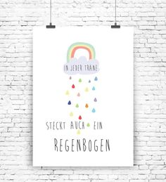 Süßes Poster mit Regenbogen für Deine Motivation / cute motivation artprint with rainbow made by  MilaLu via DaWanda.com
