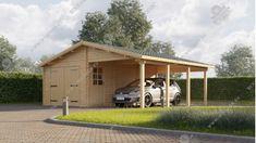 Garáž + prístrešok (4 x 5,95)+(3 x 5,95) Shed, Outdoor Structures, Backyard Sheds, Coops, Barns, Tool Storage, Barn