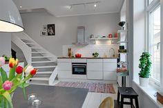 Duplex scandinave- cuisine, optimiser l'espace