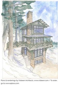 This mountain cabin gets its many rooms and all of its charm by going up, not out. Having a tiny footprint of only 330 square feet, the tower… Cabin House Plans, Small House Plans, Stair Plan, Lookout Tower, Tower House, Conceptual Design, Cabin Homes, Log Homes, Tiny Homes