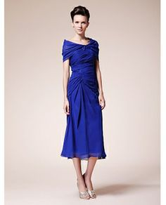 Mother of the Bride Dresses Tea Length   ... Sweetheart Tea-length Chiffon Mother of the Bride Dress With A Wrap