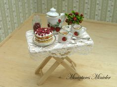 Miniature Dollhouse Afternoon Tea On The Serving Table by Minicler, $29.12