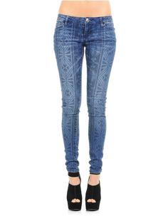 Tribal Print Denim Skinny Jeans Blue