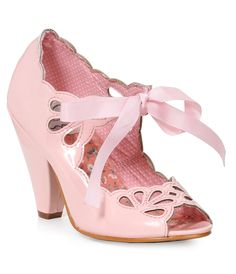 1950s Style Shoes Bettie Page Light Pink Patent Leather Bow Cut Out Peep Toe Heels Shoes $83.00 AT vintagedancer.com