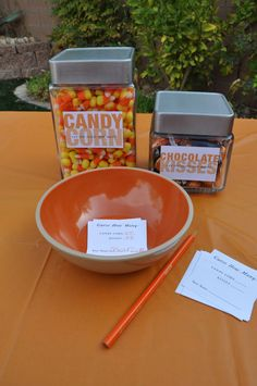 """Halloween party games: Pin-the-Nose-on-the-Pumpkin, doughnut eating on strings, and """"Who-Can-Guess-How-Many-Candies-Are-In-Each-Jar"""" (winners take home the jar)  :: Blonde Designs Blog"""