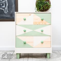 IKEA RAST hack - milk paint - geometric dresser - makeover - painted chest of drawers - Azure Owl Milk Paint - Azúr Bagoly Alkotóműhely