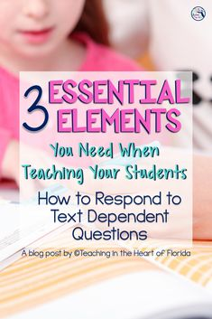 These three essential elements of really good reading instruction will help your students learn how to respond to text-dependent questions! This post lays out these elements in a format that you can implement in your classroom this year. Your readers will grow and improve their ability to respond to the text with carefully thought out questions you plan, rephrasing the question, and citing text evidence to support their answers. Click here. #textdependentquestions #Wonders3rdgrade… Citing Text Evidence, Text Dependent Questions, 3rd Grade Reading, Reading Response, Essential Elements, Literacy Centers, Teaching Reading, Student Learning, Students
