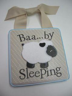 Baby Lamb Nursery Door Hanger-Baby Sleeping. $25.00, via Etsy.