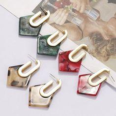 New Unique Geometric Acrylic Drop Earrings Women Jewelry Pearl And Diamond Earrings, Gold Hoop Earrings, Gold Hoops, Chandelier Earrings, Statement Earrings, Women's Earrings, Bridal Earrings, Flower Earrings, Vintage Earrings