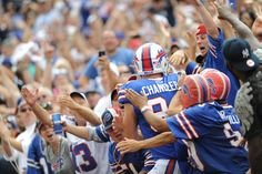 Nothing like a fan embrace! Chandler jumps into the crowd to celebrate after a touchdown this afternoon.