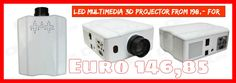 RuiQ 50W LED Multimedia 3D Projector w/ VGA / HDMI / AV / USB - White from 198,= for Euro 146,85