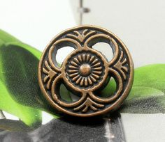 Flower Filigree Metal Buttons , Copper Color , Openwork , Shank , 0.63 inch , 10 pcs on Etsy, $5.50