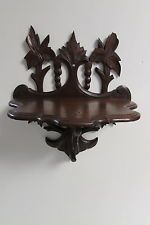 Antique Victorian Eastlake Walnut Wood Carved Folding Wall Hanging Curio Shelf