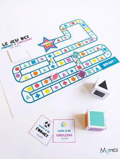 Voici un super jeu de plateau à imprimer pour s'amuser avec les formes et les couleurs ! C'est la course à l'étoile, il faut piocher des cartes, lancé les dés et surtout être le premier à l'arrivée ! Pions, dés, cartes, embûches et raccourcis, Momes a créé pour vous un véritable petit jeu de société qui va plaire aux enfants de 4 à 104 ans ! Infant Activities, Educational Activities, Activities For Kids, Brainstorming Methods, Games For Kids, Art For Kids, Sudoku, Montessori Toys, Teaching French