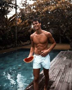 Men's Swimwear: Board Shorts And Swim Trunks Men's swimwear is an important summer fashion trend! Here are all of the best men's swimwear looks all guys out there need to know about! Men's Swimwear, Swimwear Fashion, Summer Swimwear, Swimsuits, Beautiful Boys, Pretty Boys, Corentin Huard, Surfer Boys, Hot Surfer Guys
