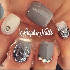 Pretty Nail Designs, Short Nail Designs, Nail Art Designs, Nails Design, Nike Nails, Fun Nails, Pretty Nails, Garra, Bling Acrylic Nails