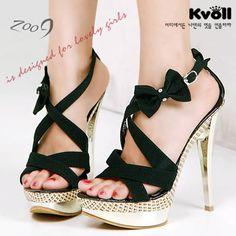Kvoll High Heels: Black Bow Multi Straps, Gold Heels and Platforms