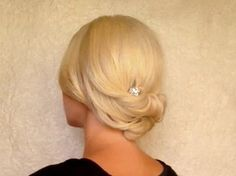 Updo hairstyle for medium short hair Rolled hair tutorial for prom wedding work office job interview - low rolled updo